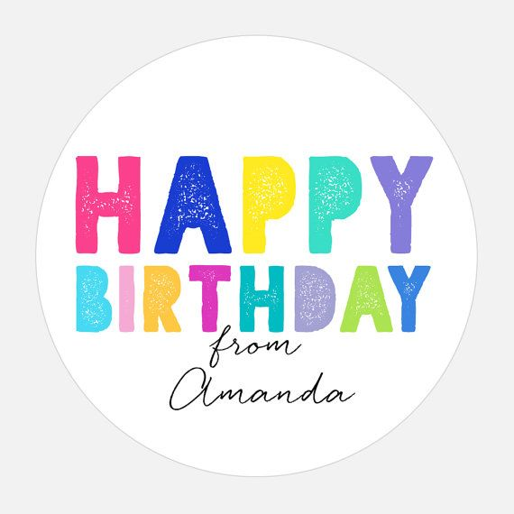 Personalized Happy Birthday Stickers Gift Rainbow Tags Colorful Girl Boy