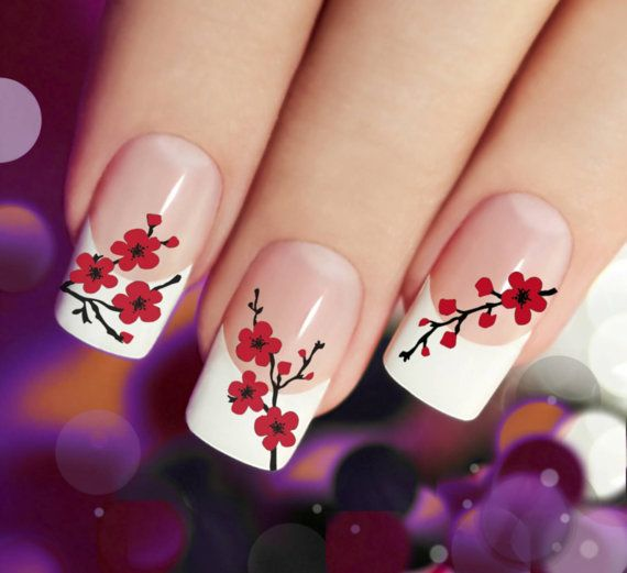 Cherry Blossoms Nail Art Cbr 45 Red Waterslide Transfer Decal Stickers Great Over French Manicure Or Light Glitter Polish