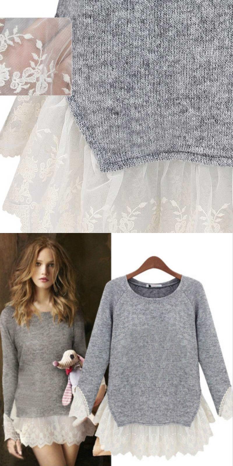 e27789e6c46 Spring autumn Plus-size pregnant women dress Fashion splicing lace maternity  clothes knit Dresses For