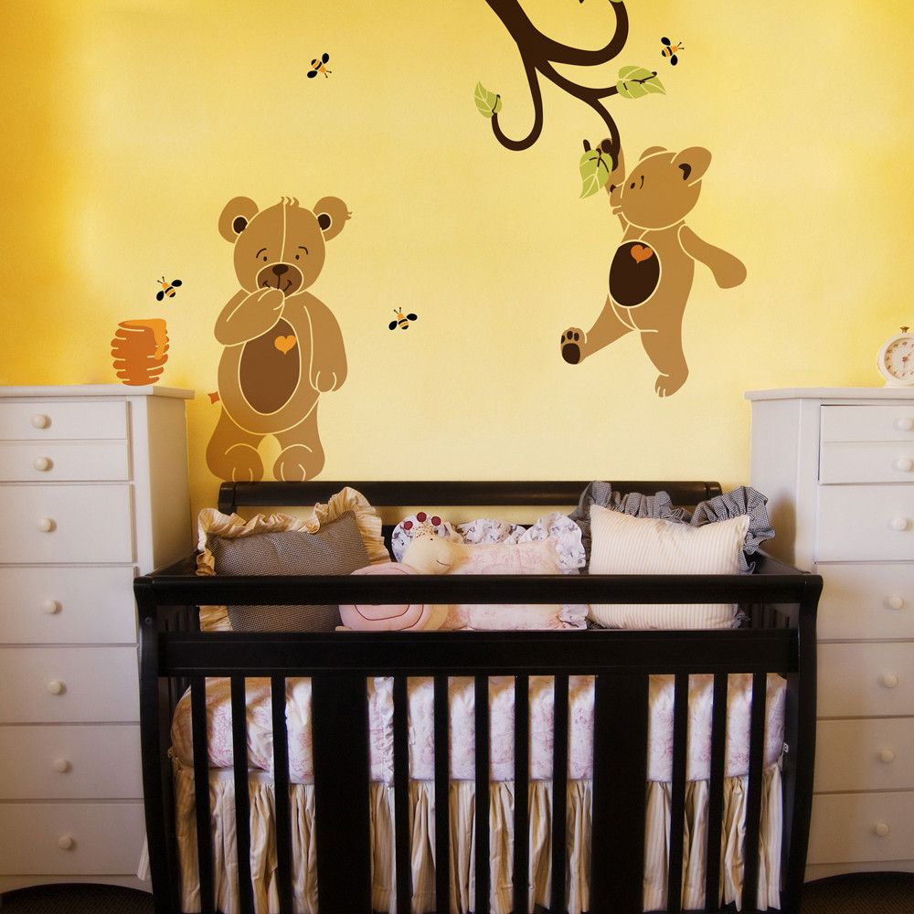 Stencil kit includes 2 teddy bear stencils 1 branch stencil 3 teddy bear wall stencil kit amipublicfo Images