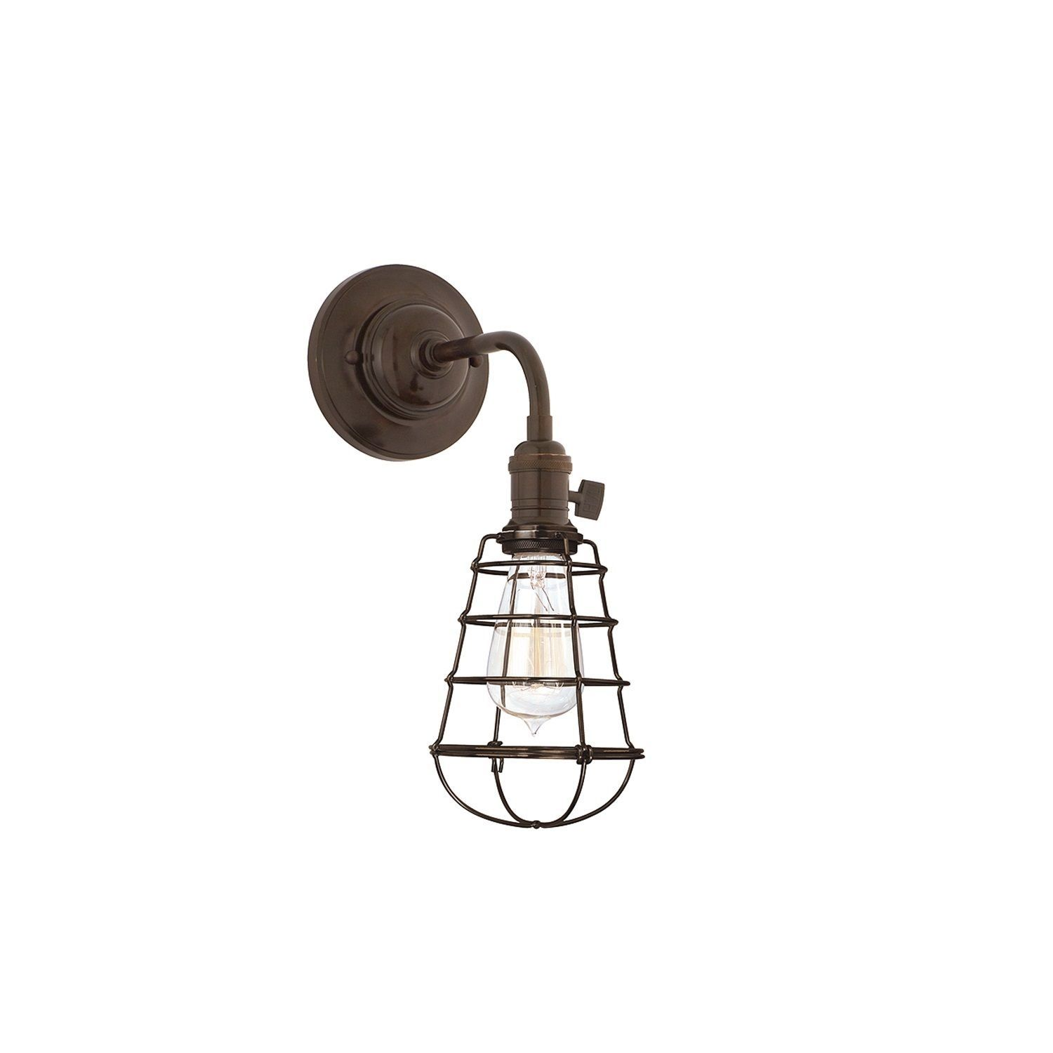Hudson Valley Heirloom Bronze Wall Sconce with Wire Guard (Old Bronze), Brown (Metal)