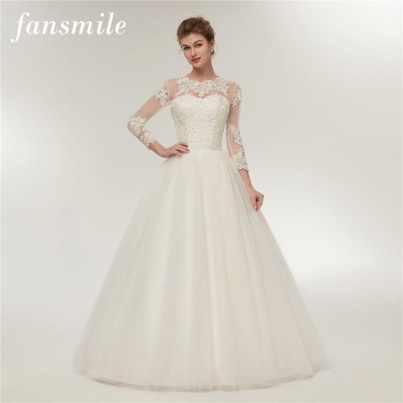 Fansmile Real Photo Long Sleeve Vintage Lace Wedding Dresses 2017 Intended For Adorable Free Returns