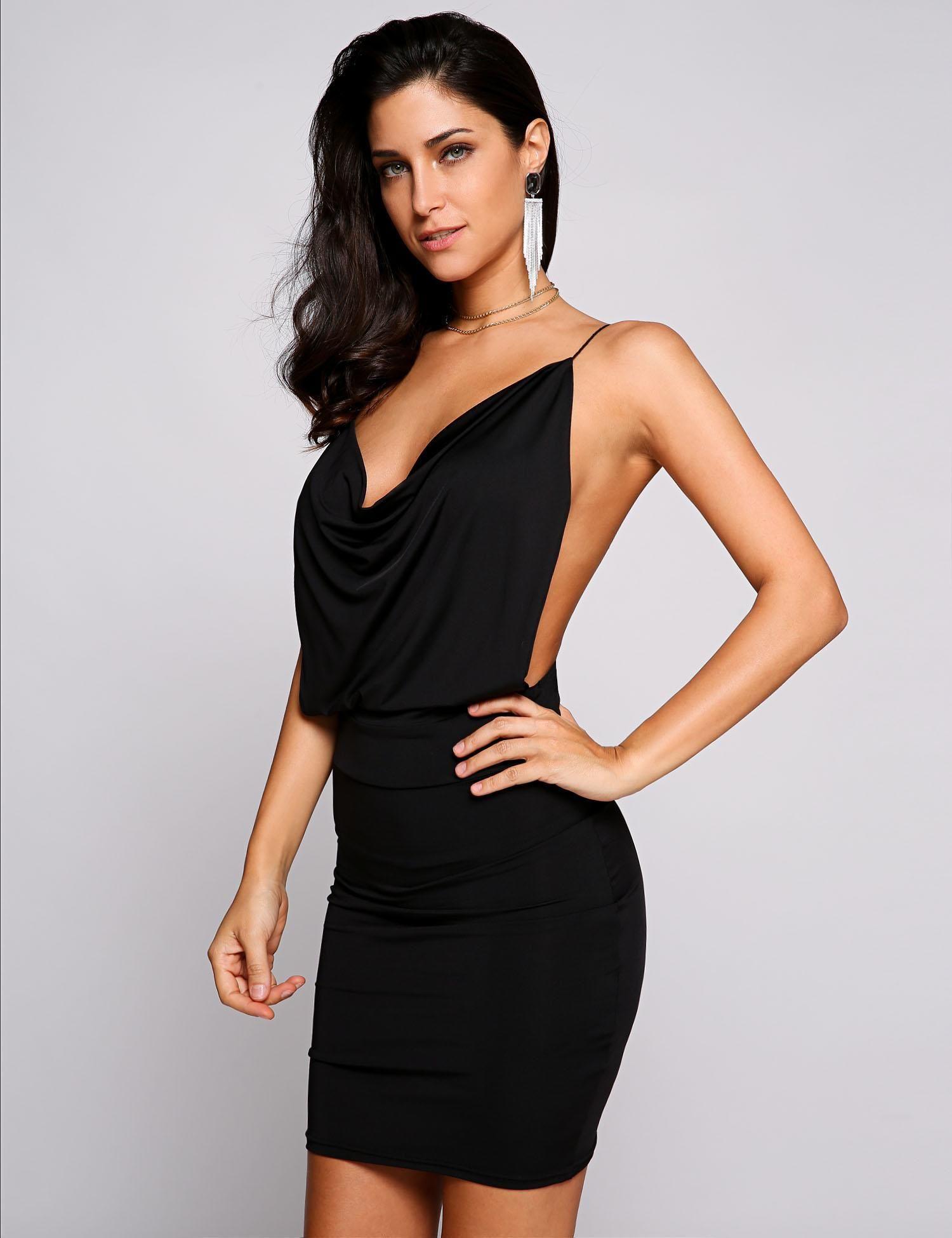 Cowl Neck Backless Dresses