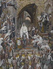 Biblical Paintings - The Procession in the Streets of Jerusalem by Tissot