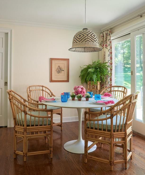 Rattan Chairs at Saarinen Dining Table - Cottage - Dining ...