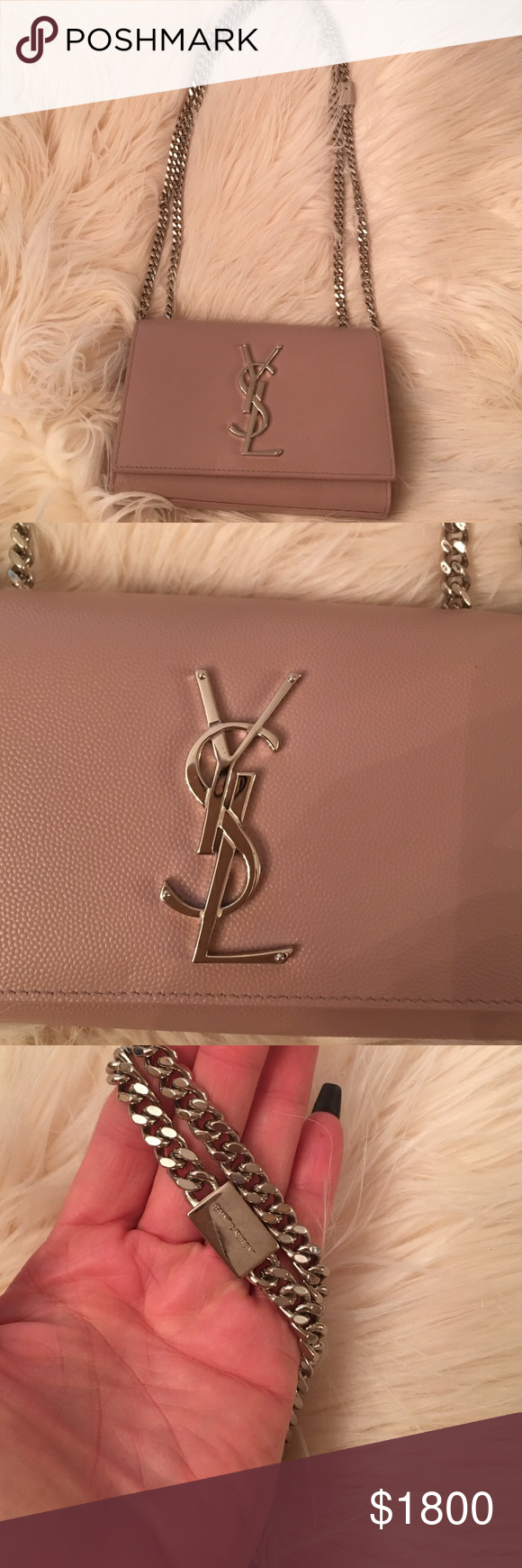 Authentic Ysl Rose And Silver Hardware Chain Strap Purse Small Sold Out Gorgeous Classic Piece Bags Mini