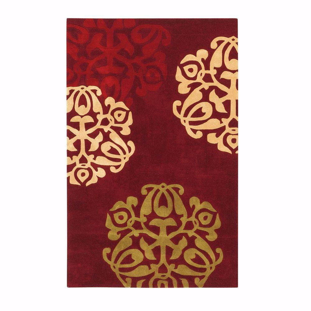 chadwick burgundy and gold 5 ft. x 8 ft. area rug, red/gold | products