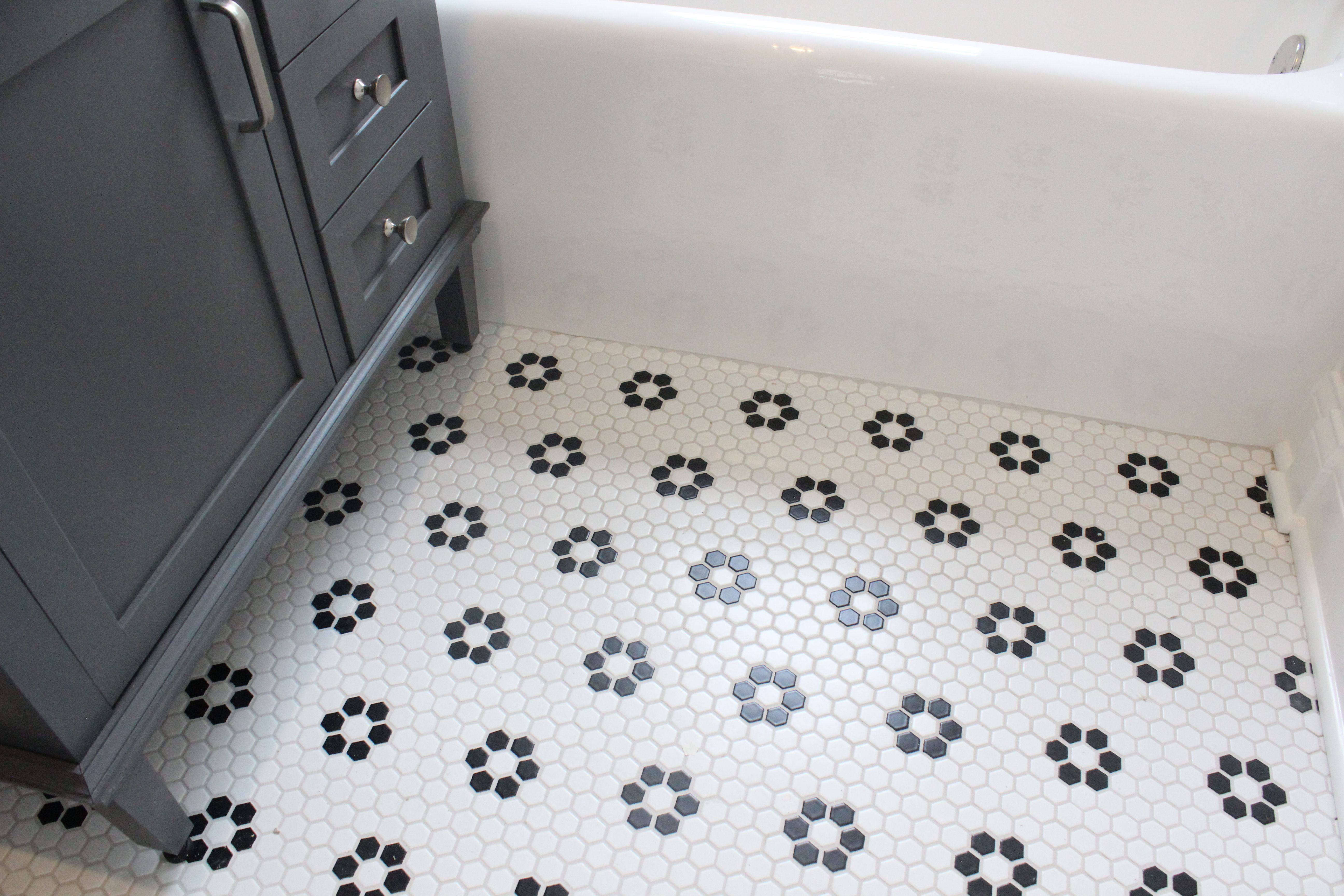 Black And White Hex Tile With Dark Grout White Hexagon Tile Bathroom Tile Bathroom Bathroom Floor Tiles