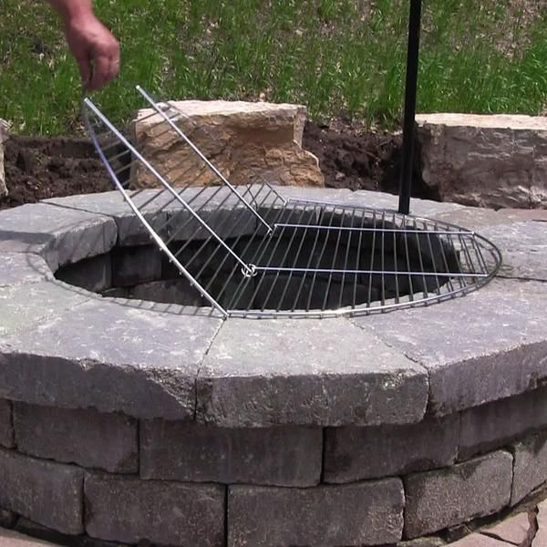 Folding Chrome Plated Cooking Grate Oxemize Com 4 Fire Pit