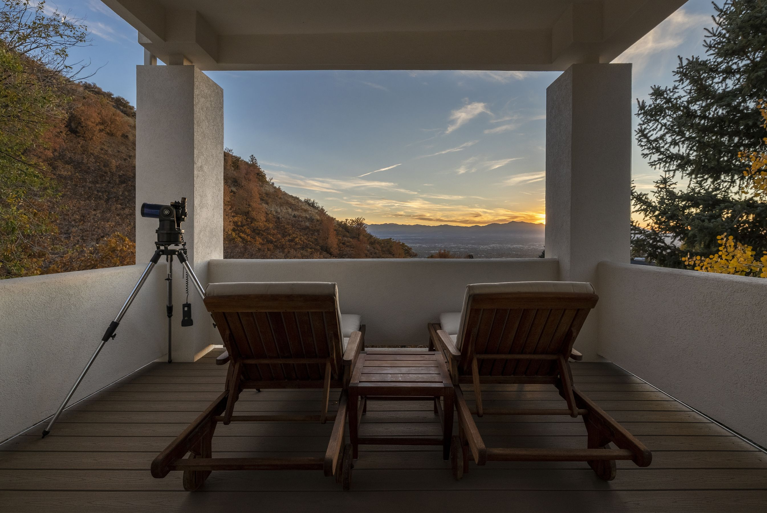 Relax after a long day to the peaceful sunset over the Salt Lake Valley, with a perspective that includes Downtown, the Great Salt Lake, and both the Wasatch and Oquirrh mountain ranges. #WindermereUtah #Sunset #Patio #Balcony #Deck #UtahHomes #DreamHome #LuxuryLiving #Luxury #HomeDesign #HomeDecor #Views #OutdoorLiving #OutdoorFurniture #Utah