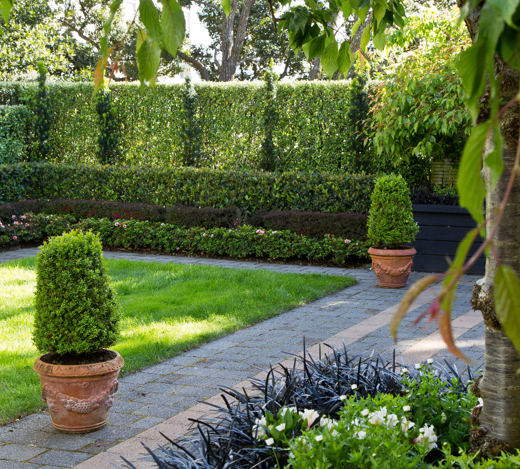Formal Garden Design Idea: Formal Hedging And Columns Of Irish Yew. The 4 Tiers Of