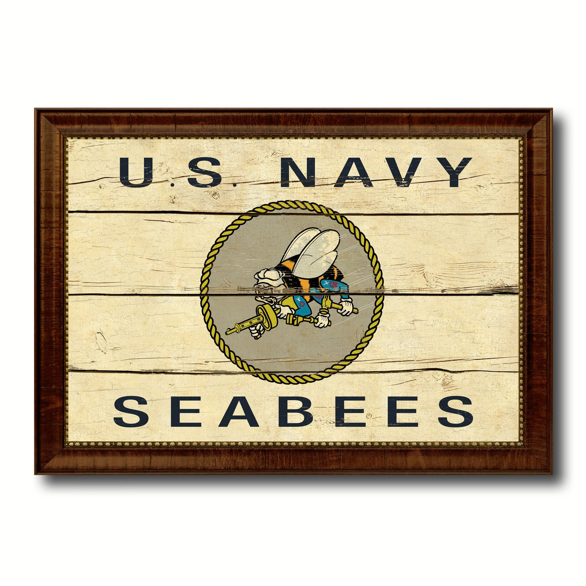 US Navy Seabees Military Vintage Flag Brown Picture Frame Gifts ...