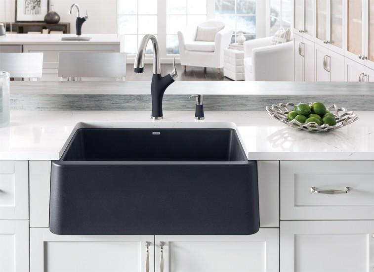 Blanco Ikon 33 Single Bowl Farmhouse Apron Sink Anthracite