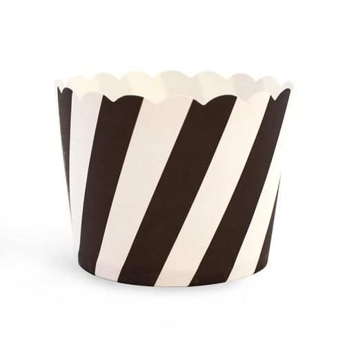 Baking Cup-Treat Cup-Black and White Candy Stripe via Hoopla Events on Etsy. $6.95