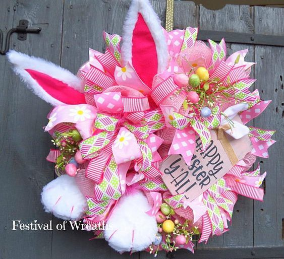 Photo of Easter decor wreath – Easter wreath for the front door – Easter bunny wreath – Easter decor – rabbit decor – Easter net wreath – Easter