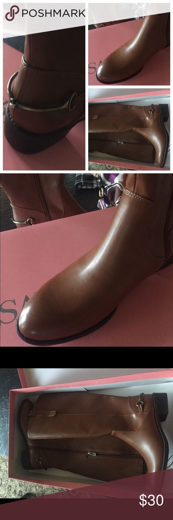 Riding boots - tan/cognac New riding boots inbox. Never worn, tried on in store only. Just a little too snug for my curvy calves - they zip but it's not comfy! 👢👢 Sam & Libby Shoes Heeled Boots