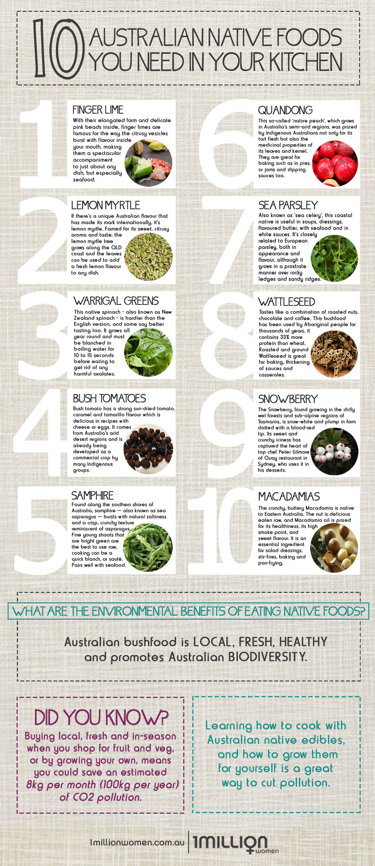 Infographic Top 10 Native Australian Foods You Need In Your Kitchen 1 Million Women Australian Food Native Foods Native Australians