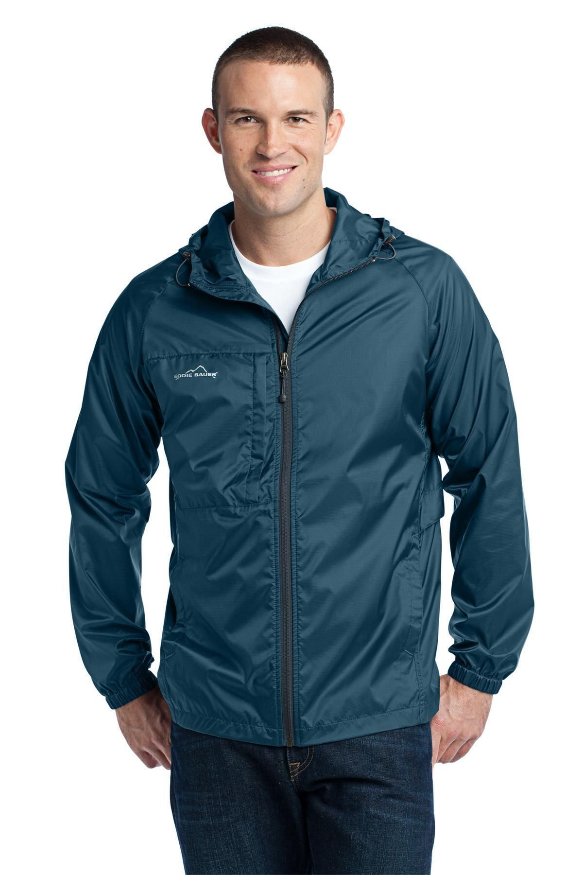 Eddie Bauer Packable Wind Jacket. EB500 Brilliant Blue