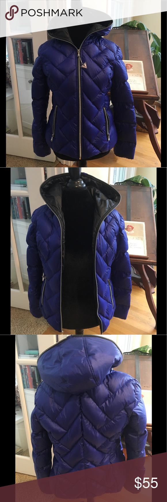 Guess Down Filled Puffer Jacket With Silver Zipper Silver Zipper Blue Quilts Puffer [ 1740 x 580 Pixel ]