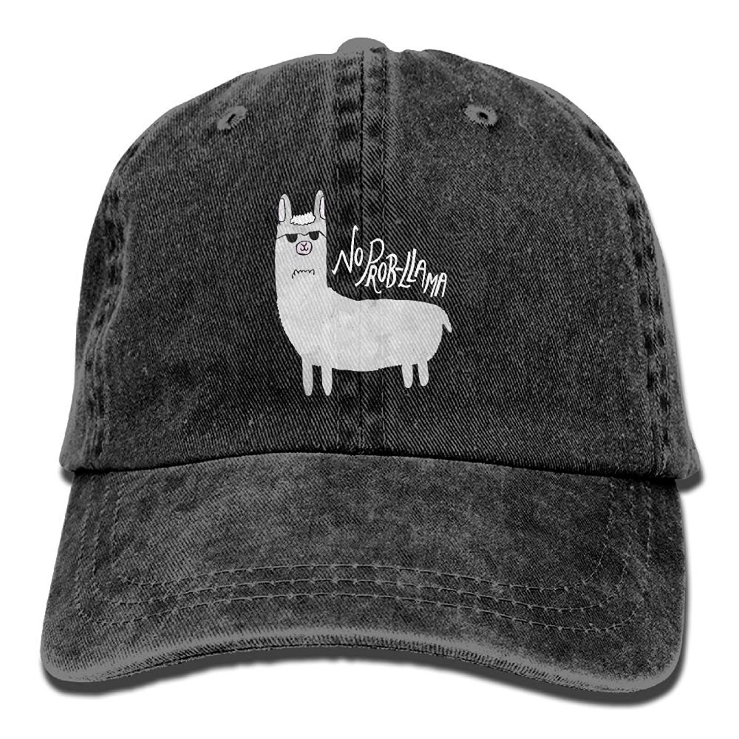 58ed602ac74 No Prob-llama Adjustable Adults Custom Denim Hat For Mens Womens ...