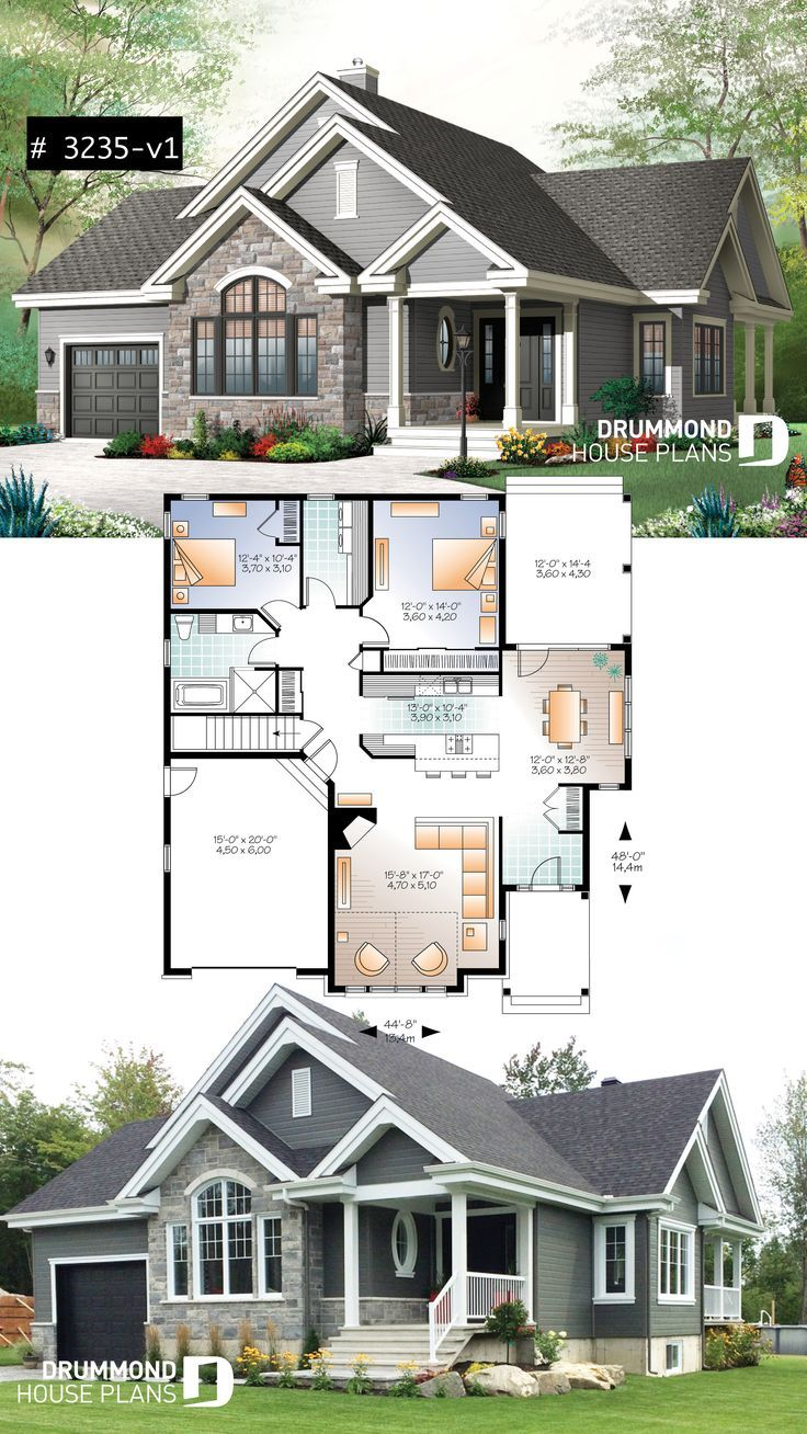 Ranch Bungalow house plan, with galley kitchen, open floor plan concept, garage,... - -