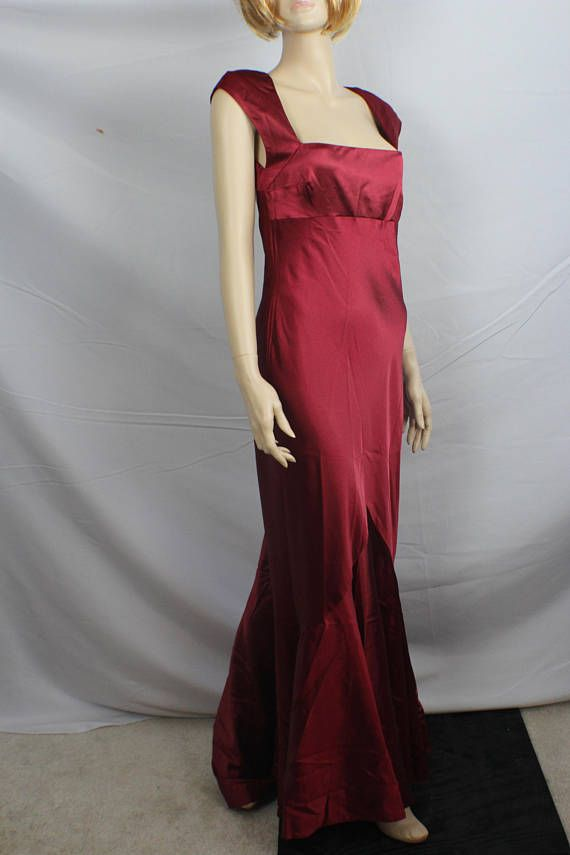 90s prom dress vintage 1990s dress red burgundy satin | 90s prom ...