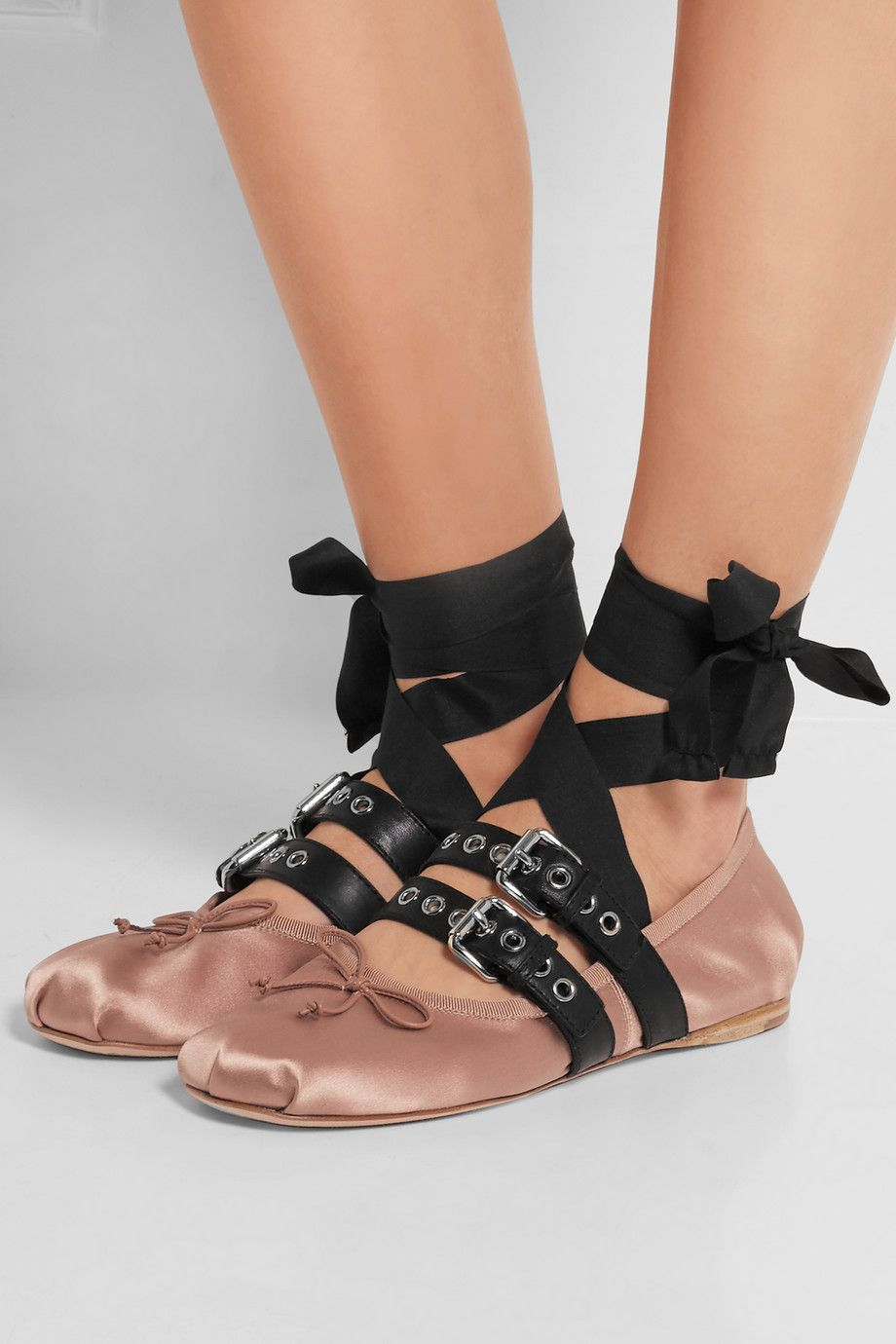 e592bf0bda3 Miu Miu buckled leather and satin ballet flats