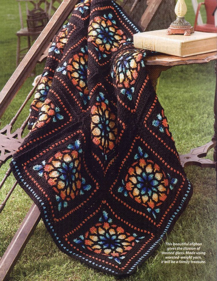 crochet pattern - stained glass window afghan (I\'d use different ...