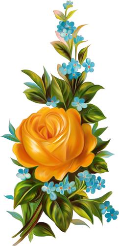 Glanzbilder - Victorian Die Cut - Victorian Scrap - Tube Victorienne - Glansbilleder - Plaatjes : Vergißmeinnicht mit Rosen - forget me nots with roses - oubliez-moi pas avec des roses