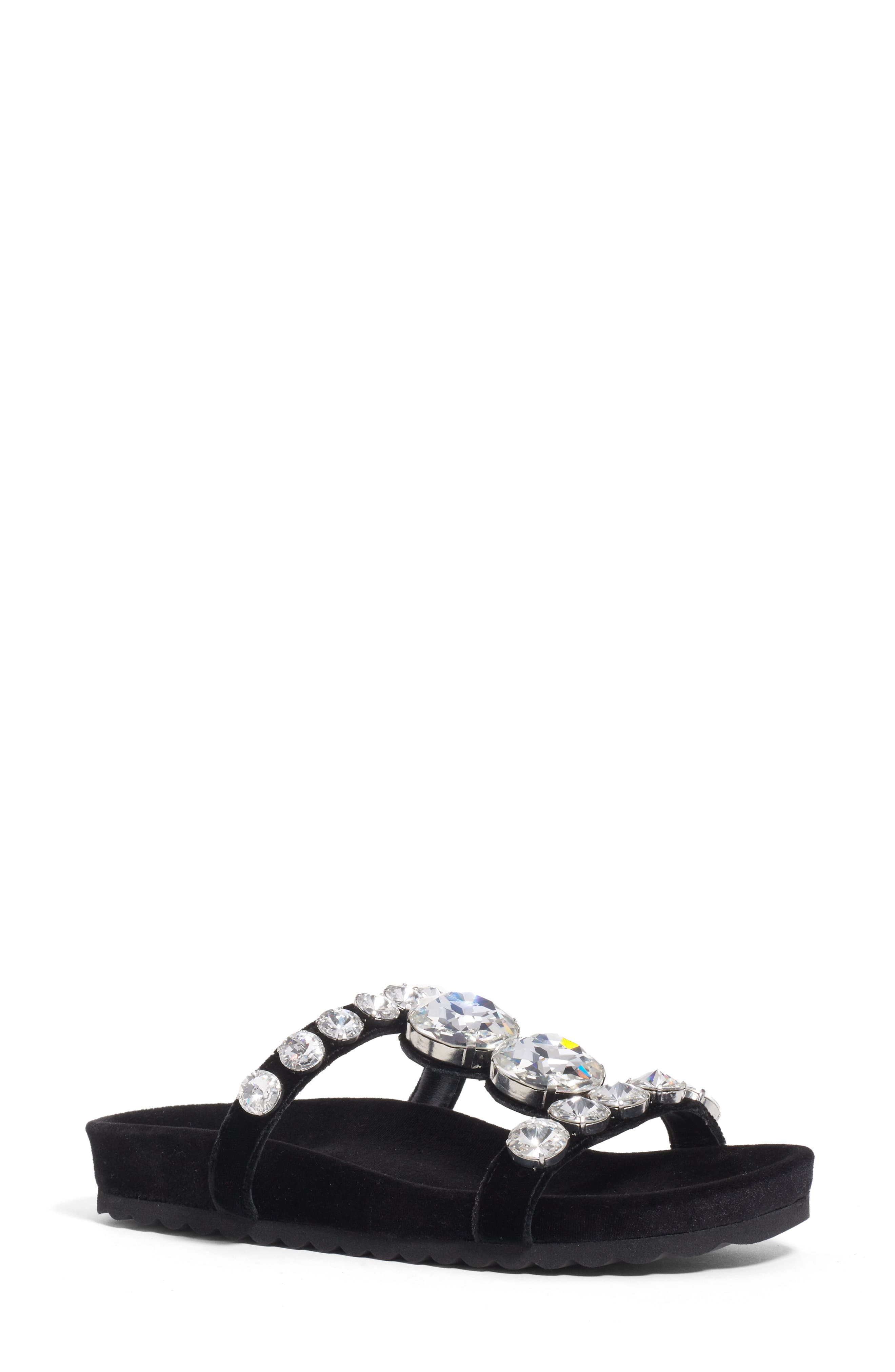 327b1d0960 Women's Miu Miu Crystal Embellished Slide Sandal, Size 8US / 38EU - Black