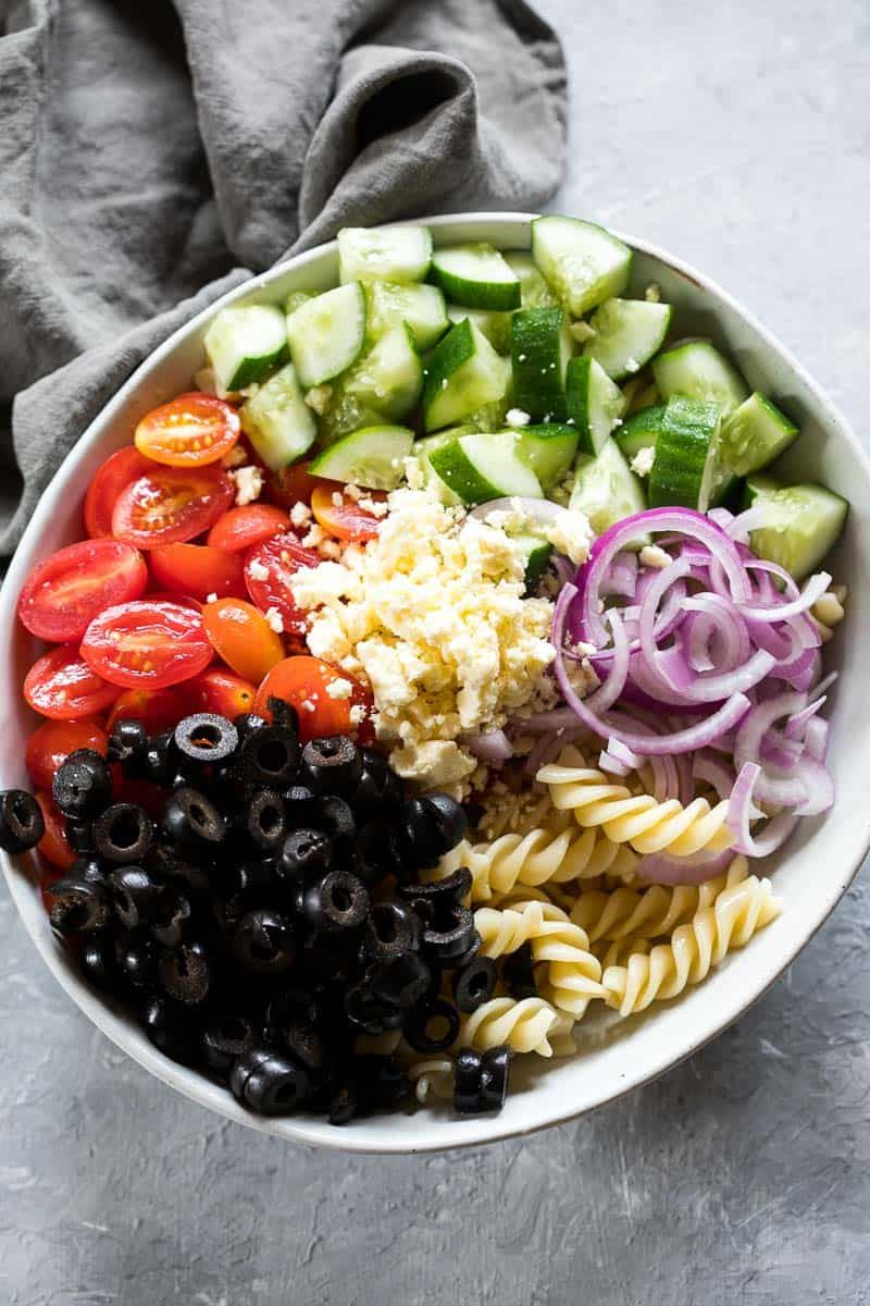 Greek Pasta Salad! Your friends will be begging you for the recipe!