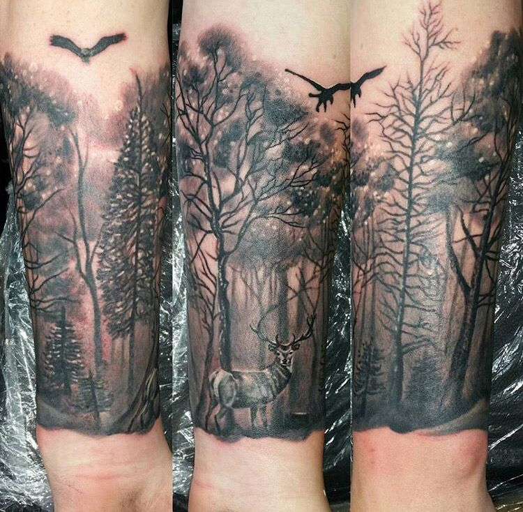 tattoo forest deer forearm tattoo pinterest tattoo ideen wald und wald tattoo. Black Bedroom Furniture Sets. Home Design Ideas