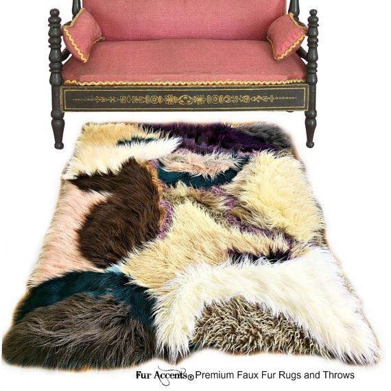 Luxurious Thick Faux Fur Llama Area Rug Jewel Tone Patchwork Quilt Designer Throw