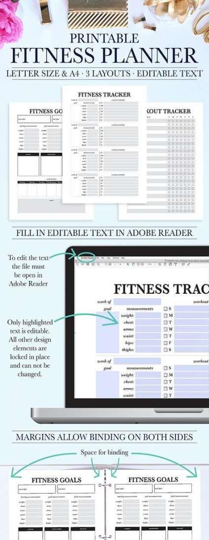 20+ trendy fitness planner pdf #fitness
