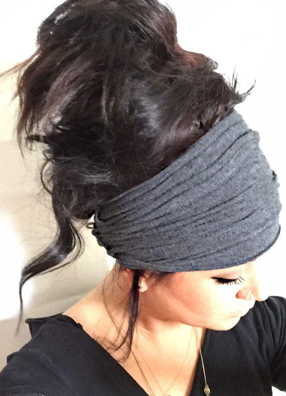 Soot Scrunch Headband, Extra Wide Headband, Turban
