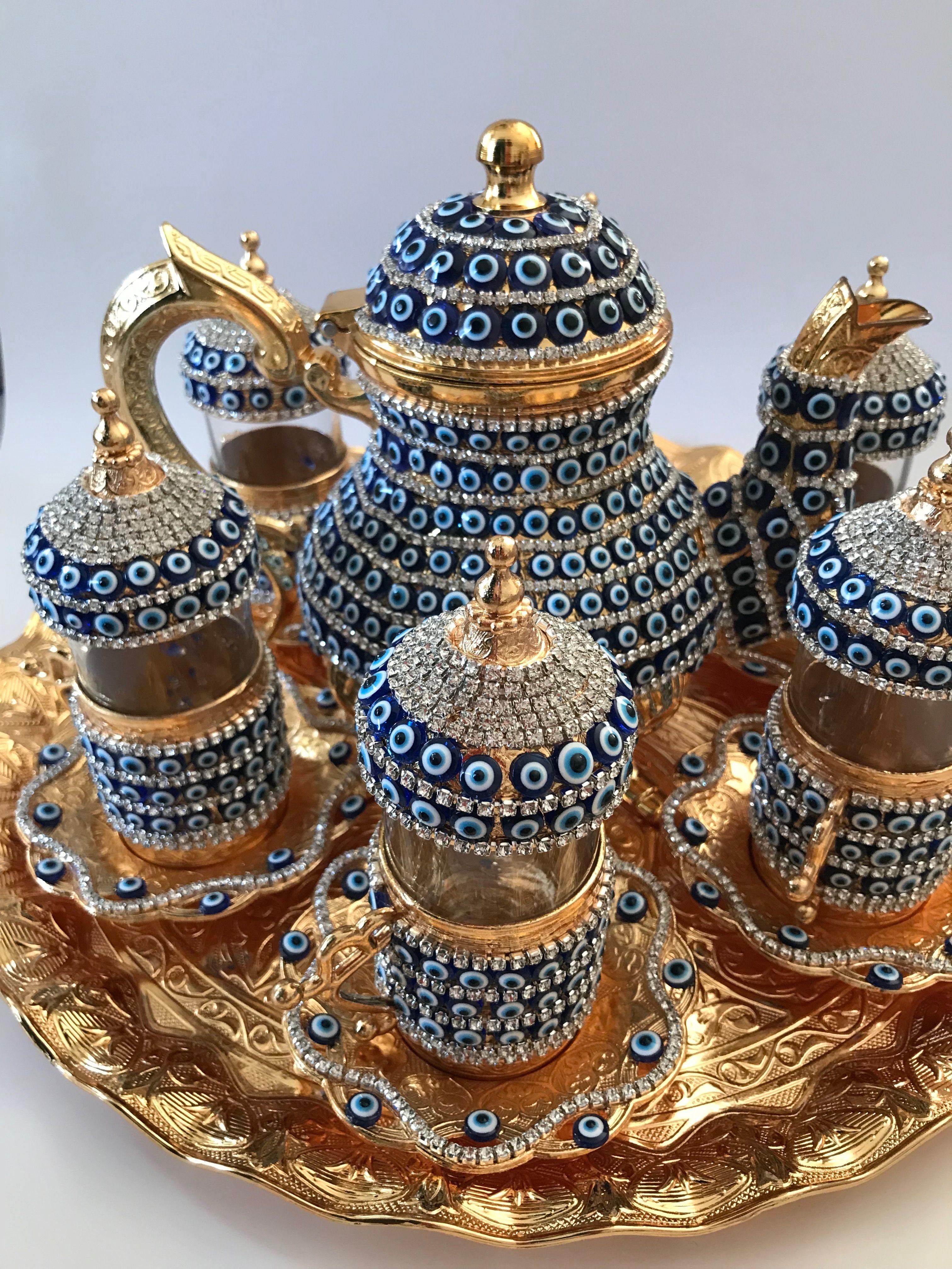 Details about 28 pc turkish arabic glass tea cup saucer
