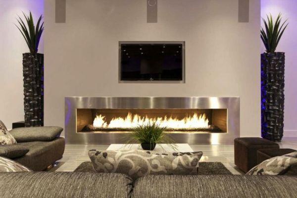 wohnzimmer gestaltungsideen modern kamin tv pflanzen dekoideen, Wohnzimmer dekoo