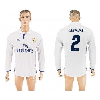 Real Madrid 16-17 Carvajal 2 Hemmatröja Långa ärmar  #Billiga Fotbollströjor