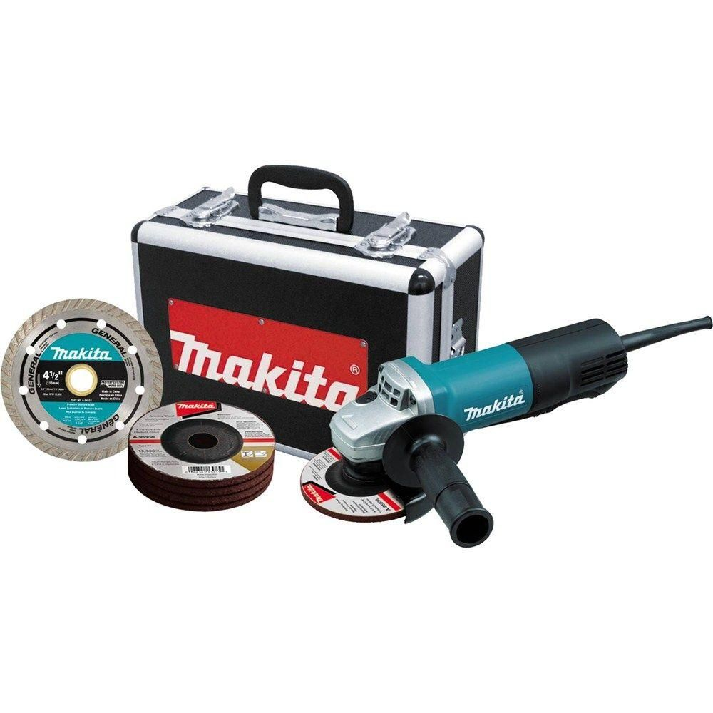 Makita 7 5 Amp Corded 4 1 2 In Paddle Switch Grinder With Aluminum Case Diamond Blade And Grinding Wheels Angle Grinder Angle Grinders Bench Grinder