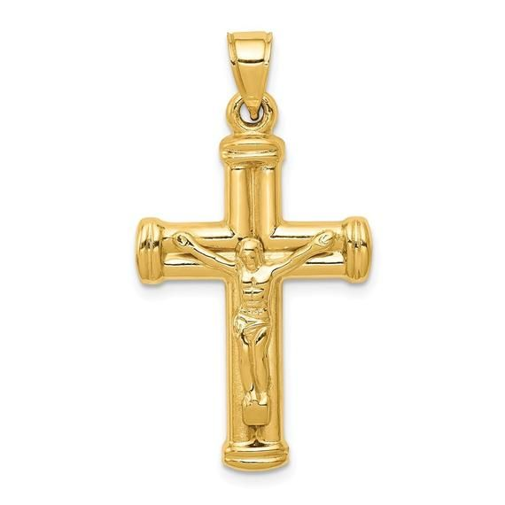 Exquisite 10k Gold Jesus Crucifixion Cut-Out Charm Pendant