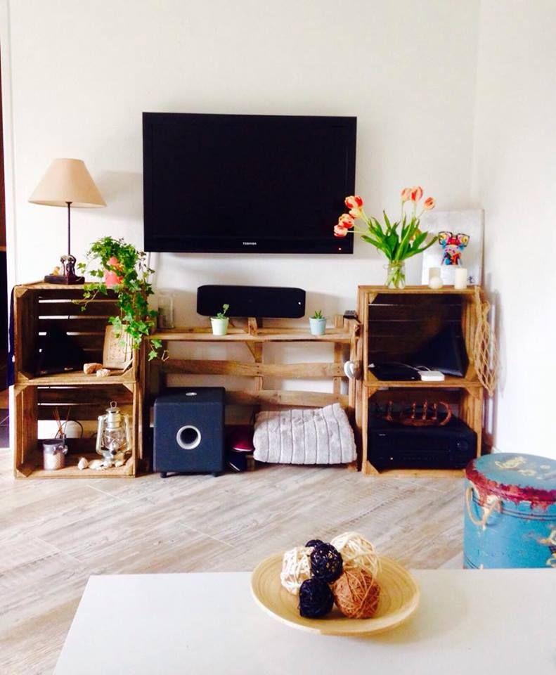 Meuble Télé Avec Des Caisses Et Palettes Fait Par Y Ba Furniture