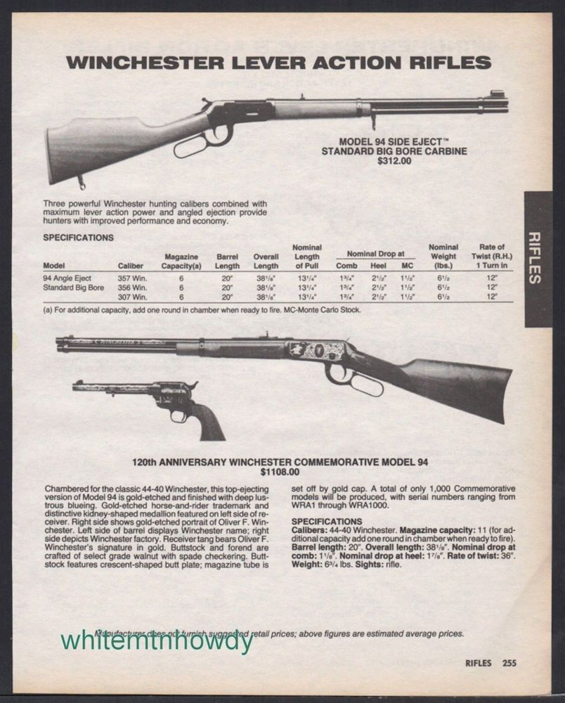 Details about 1987 WINCHESTER 94 Side Eject Big Bore, 125th