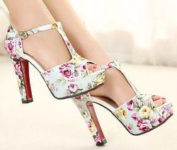 Online Shop Free shipping flowers print 2013 new sandals for women shoes chunky red bottom high heels platform pumps T belt buckle SXX33552|Aliexpress Mobile
