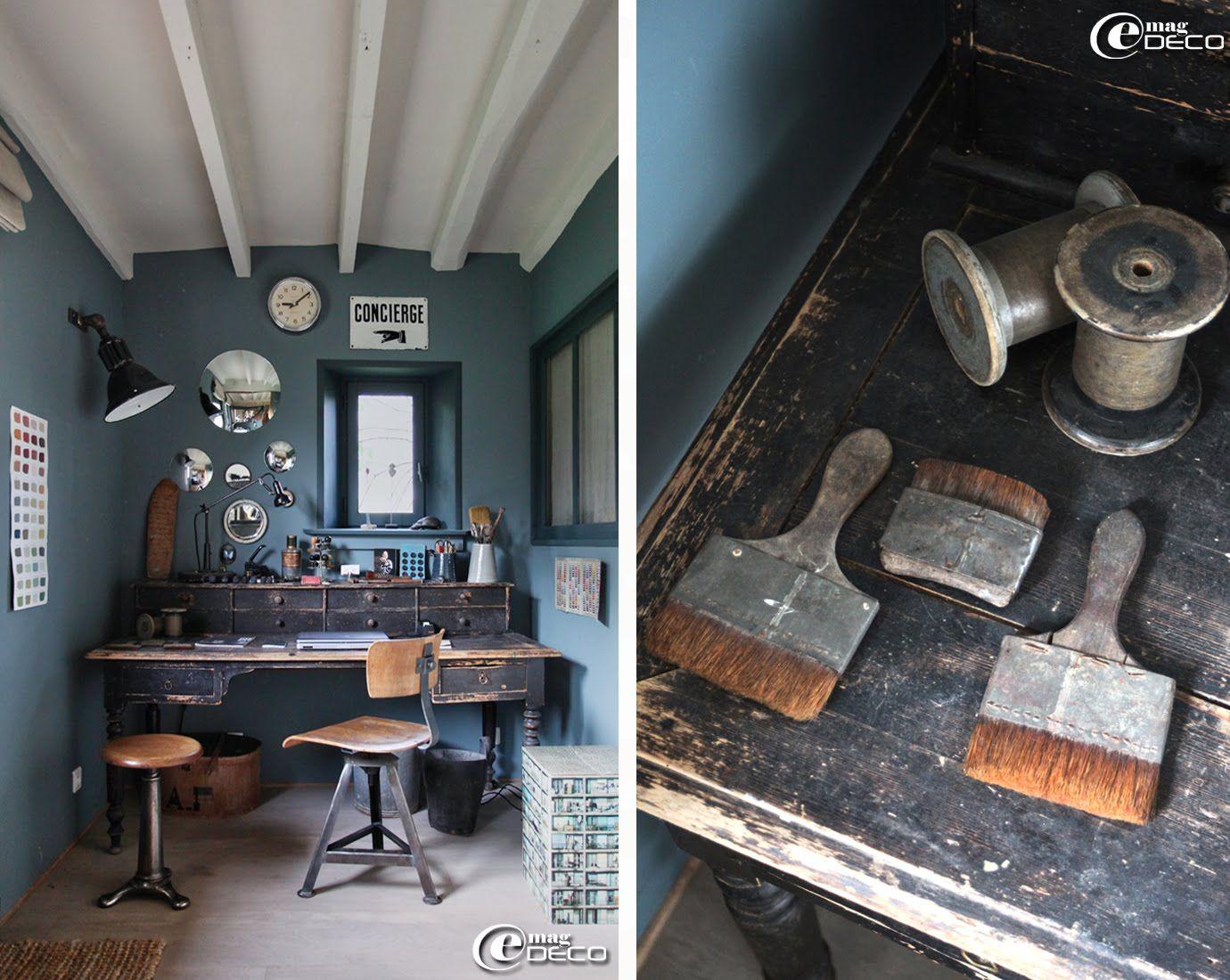 coin bureau dans un style atelier bureau napol on iii chaise pivotante tabouret d atelier. Black Bedroom Furniture Sets. Home Design Ideas