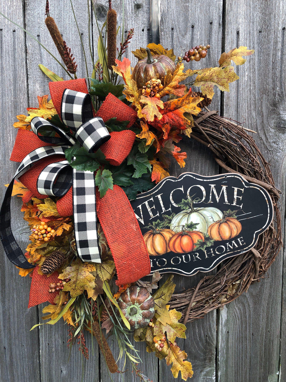 Thankful /& Blessed Fall Raffia Pumpkin Autumn Hanging Wreath Decor
