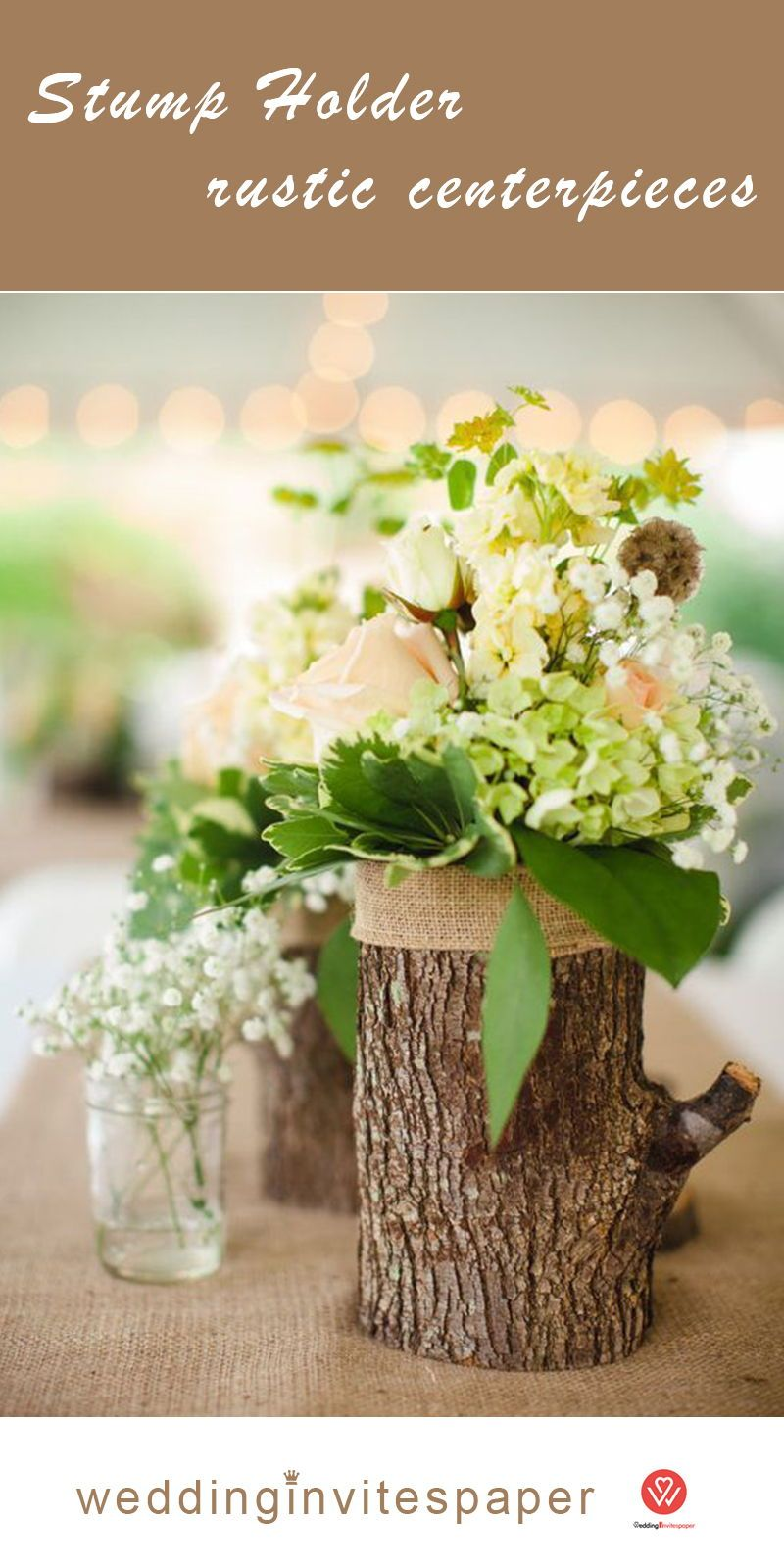 Top 23 Remarkable Rustic Wedding Centerpieces Wooden Stump With Greenery And F Natural Wedding Decor Wedding Table Decorations Diy Rustic Wedding Table Decor