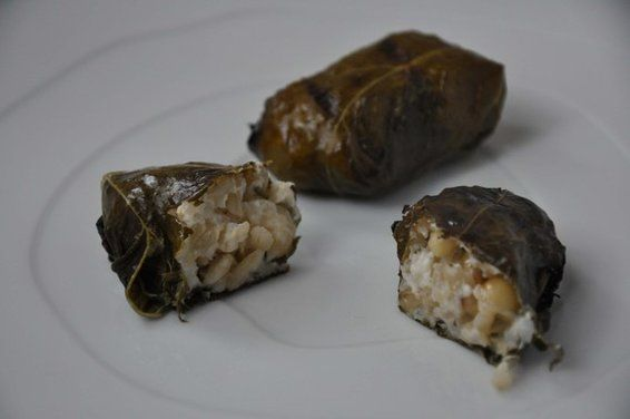 Grilled Grape Leaves Stuffed with Lemony Goat Cheese - YUM!!!