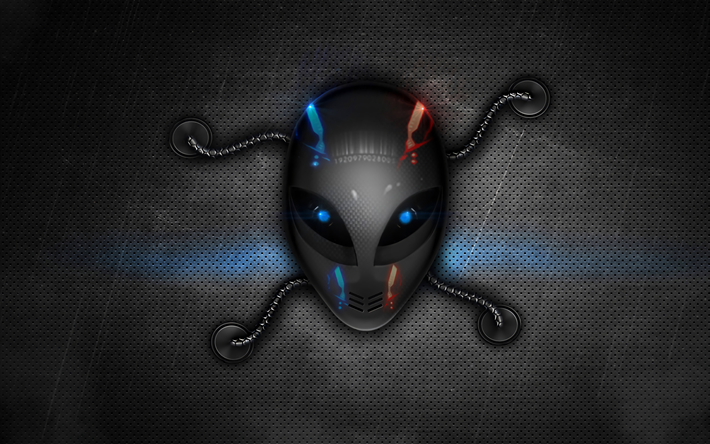 Download wallpapers Alienware, 4k, 3d logo, metal