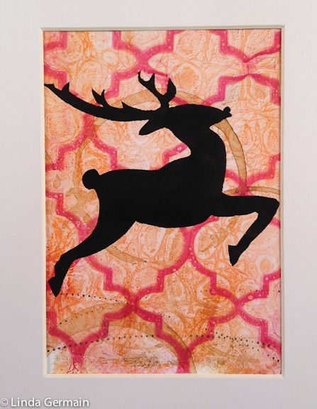 reindeer stenciled on to a gelatin plate monotype print