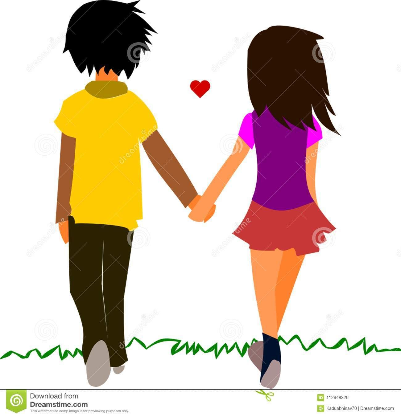 Photo About Love Between A Girl And Boy Having Holding Hands